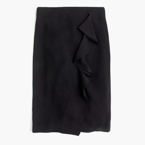 J. Crew black ruffle pencil skirt in 365 crepe, 6T